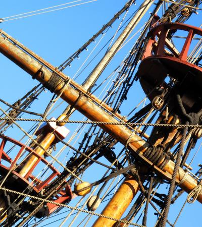 Masts, ropes, and crow's nests of The Golden Hinde in London