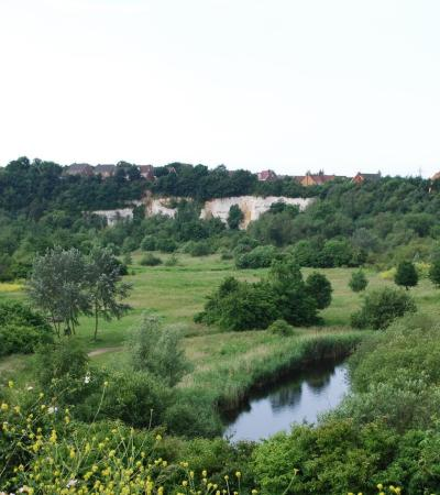 Hill top view of Chafford Gorges Nature Park in Grays