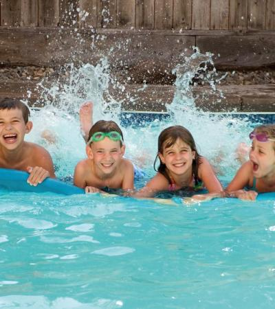 Kids in swimming pool at Blandford Leisure Centre in Blandford Forum