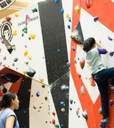 Kids bouldering at The Ballroom Climbing Wall in Coventry