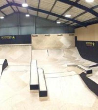 Indoor skating ramps at Area 25 Skatepark in Ipswich