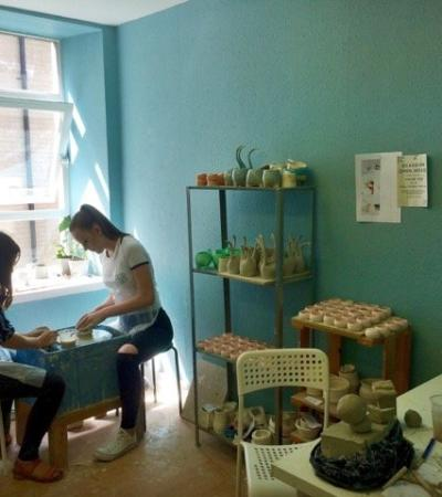 People doing crafts at The Craft Pottery in Glasgow