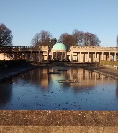 Outside view of Visitor Centre at Eaton Park in Norwich