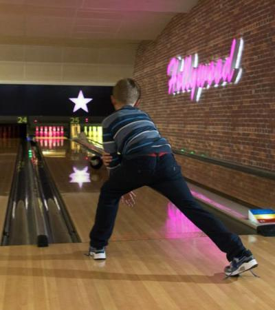 Boy bowling at Hollywood Bowl Maidstone