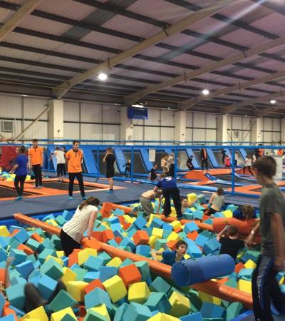 Kids in foam pit at Air Factory Trampoline Park in St Helens