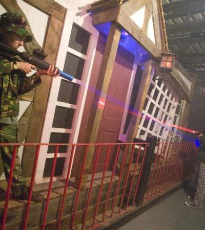 People playing laser tag at Rye House Laser Combat in Hoddesdon