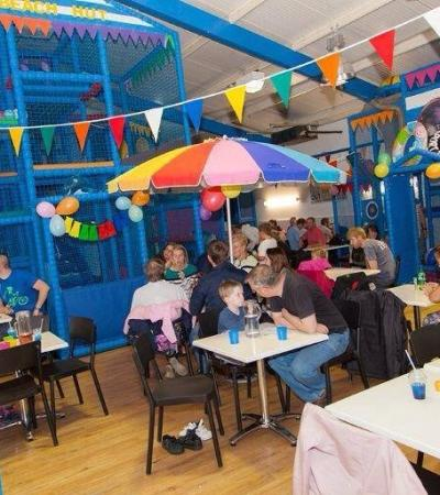 Families eating and playing at The Beach Hut in Cannock