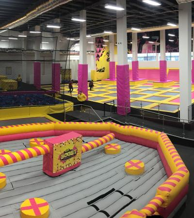 Overview of Boost Trampoline Parks trampolines, battle beam and foam pits in Leicester