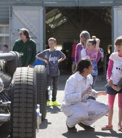 Staff teaching kids at Brooklands Museum in Weybridge