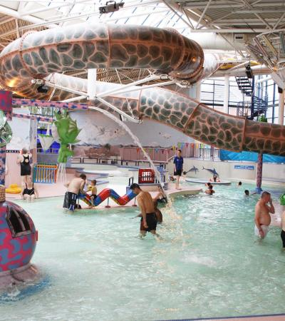 Families in swimming pool at Dimensions in Stoke on Trent