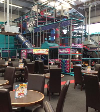 Indoor soft play frame and cafe area at Escape Play in Nottingham