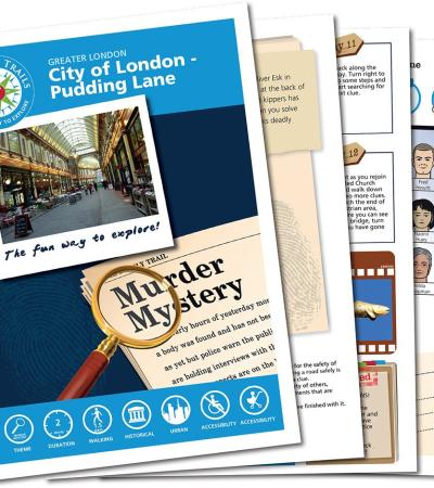 Map and booklet for The Pudding Lane Mystery Treasure Trail in London