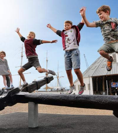Kids on anchor at The Historic Dockyard Chatham