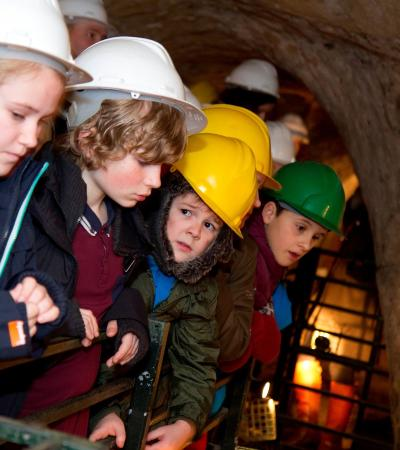Kids exploring City of Caves in Nottingham