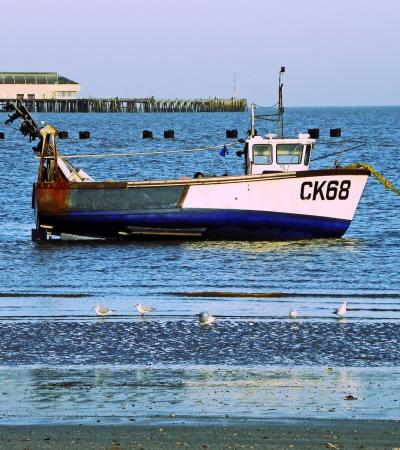 Boat at Martello Bay Beach in Clacton On Sea