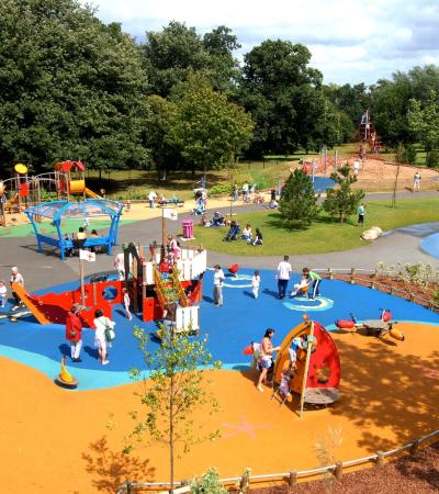 Outdoor playground and water areas at Danson Splash Park in Bexleyheath
