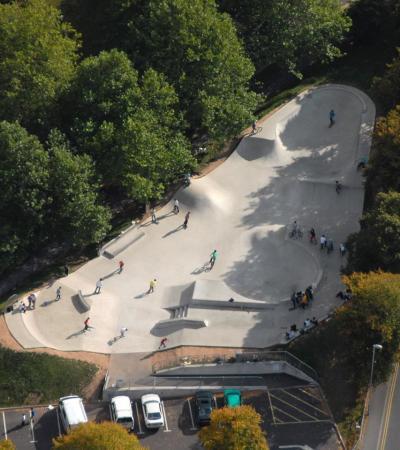 Aerial view of Dorchester Skatepark