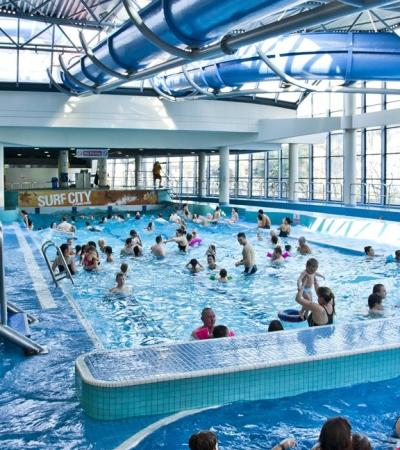 Families in swimming pool at Ponds Forge in Sheffield