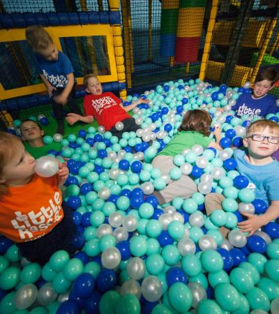 Kids in ball pit at Little Rascals Play Centre in Shrewsbury
