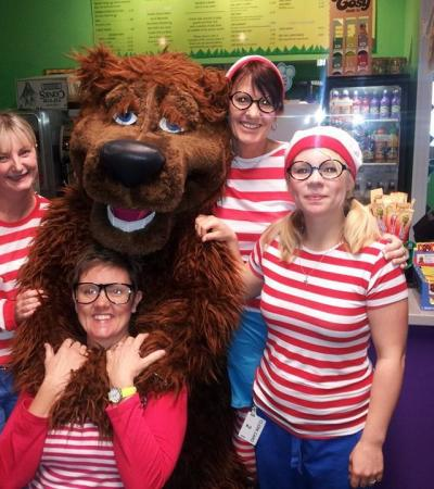 Staff dressed as Where's Wally with Mascot at Bear Feet Playcentre in Abbot