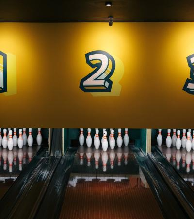 Bowling lanes at Bowling House in Norwich