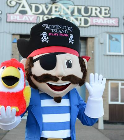 Adventure Island Playpark mascot at Adventure Island Playpark in Lowestoft