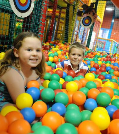 Kids in ball pit at Wacky Warehouse Queen B in Chelmsford