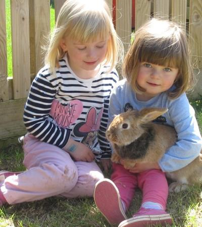 Girls with bunny at Trethorne Leisure Park in Launceston
