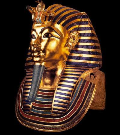 Tutankhamun's mask at The Tutankhamun Exhibition in Dorchester