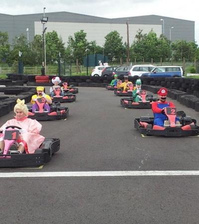 Characters in go karts at Midland Karting in Lichfield