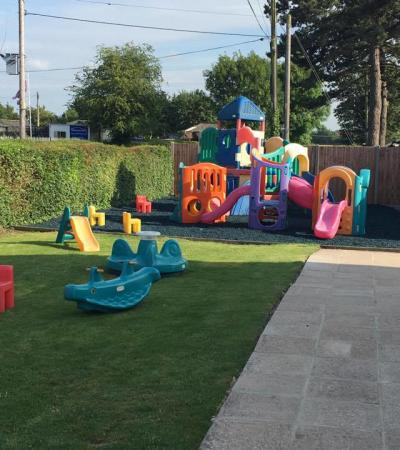 Outdoor play area at Adventure Island Play Barn in Sawbridgeworth