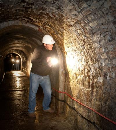 Man at Victoria Tunnel in Newcastle upon Tyne