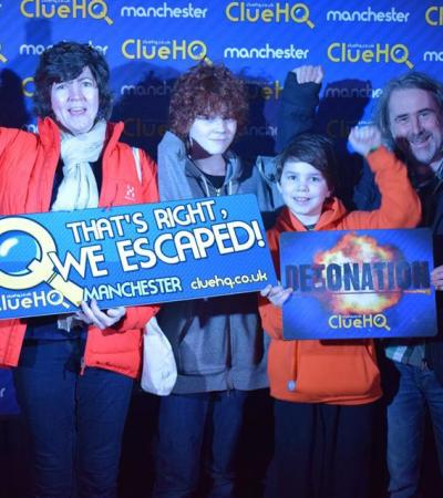 Family completed escape room at Clue HQ Manchester