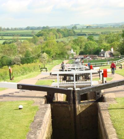 Canal lock at Foxton Boat Services in Market Harborough
