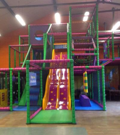 Indoor soft play frame and slide at Jump for Joy in Norwich