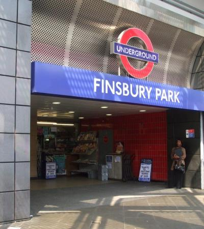 Entrance to Finsbury Park in London