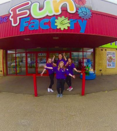 Staff at entrance to Fun Factory Rochford