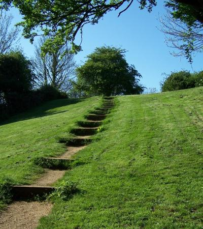 Steps on trail to Rayleigh Mount in Essex