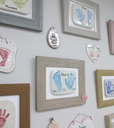 Hand and foot prints at Little Mouse Pottery in Keyworth