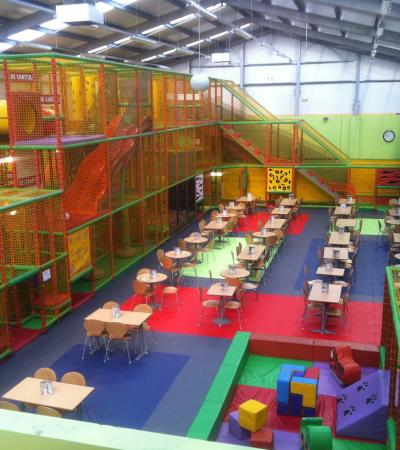 Indoor soft play area and seating area at The Jungle Chesterfield