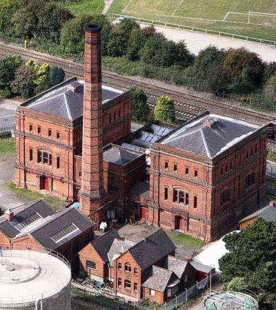 Outside view of Claymills Victorian Pumping Station in Burton on Trent