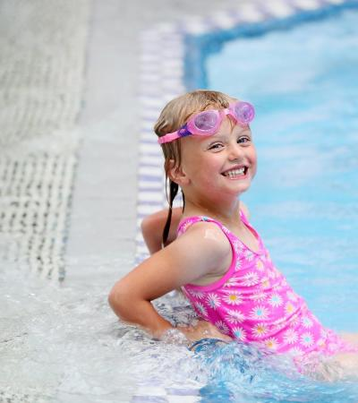Girl in swimming pool at Tunbridge Wells Sports Centre