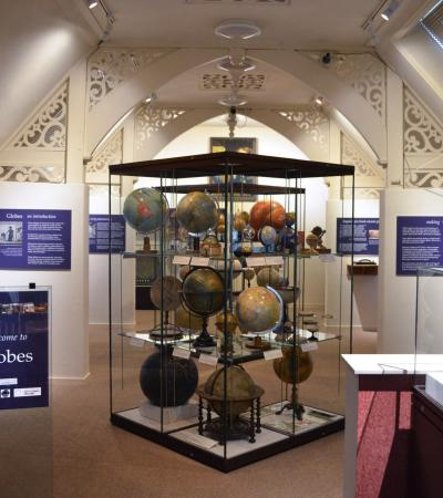 'Globes' exhibit room at Whipple Museum of the History of Science in Cambridge