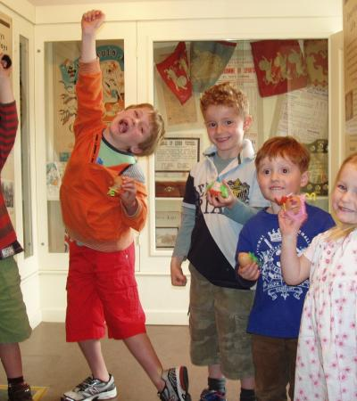 Kids with eggs at St Neots Museum