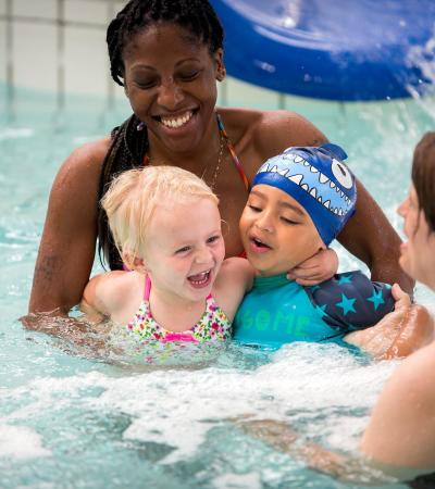 Families swimming at The Bunyan Sports Centre in Bedford