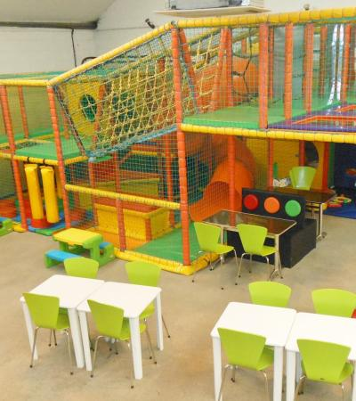 Indoor soft play frame and cafe area at Creepy Crawlies Play Centre in Chelmsford