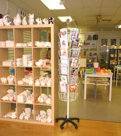 Pottery pieces and pottery painting area at Crafty Monkey in St Neots