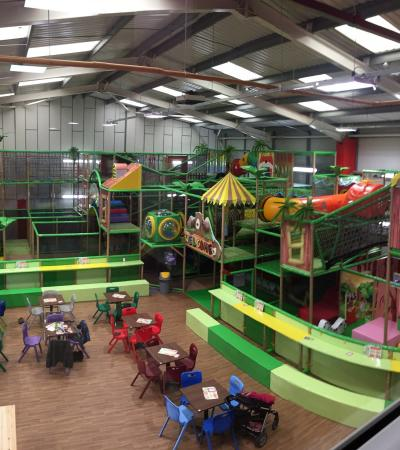 Indoor soft play frame and cafe area at Monkey Bizness Southampton