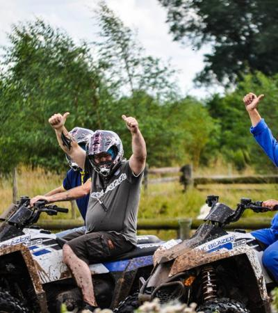 People on quad bikes at Garlands Off Road Leisure in Atherstone