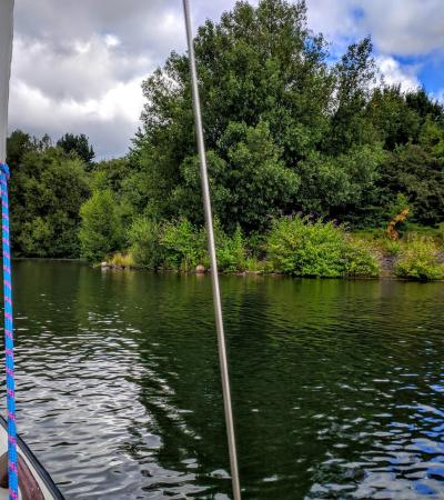 Sailing on lake at Debdale Outdoor Centre in Gorton
